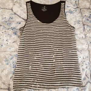 New York & Co. Black & White Sequin Striped Tank L